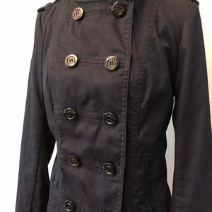 Divided Jackets & Coats - Divided | Double Breasted Black Twill Peacoat
